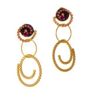 Alessandro Fanfani 18K Yellow Gold Pink Sapphire & Diamond Swirl Drop