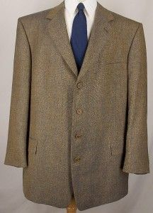 48 R Daniel Hechter Brown Blue Silk Tweed Sport Coat Jacket Suit