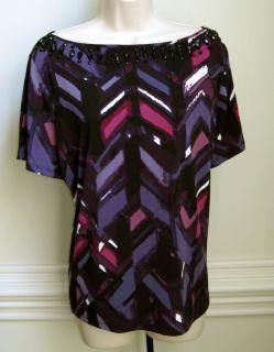 Alex Marie Womens Short Sleeve Top Shirt New Discount