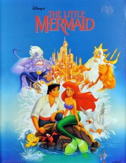 Vintage Disney Little Mermaid Ariel Castle Eric Cartoon RARE Poster