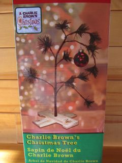 New Peanuts Snoopy Charlie Browns Christmas Tree w Stand Bulb 24 tall