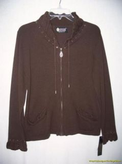 New Christine Alexander Jacket M Dark Brown Ruffle Trim Swarovski
