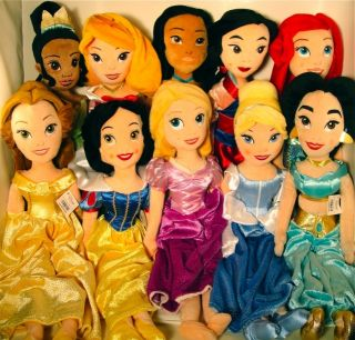 10 Princess Collection Set Plush Dolls Rapunzel Snow