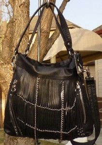 New $268 B Makowsky Alexis Black Chainlink Leather Hobo Bag Purse