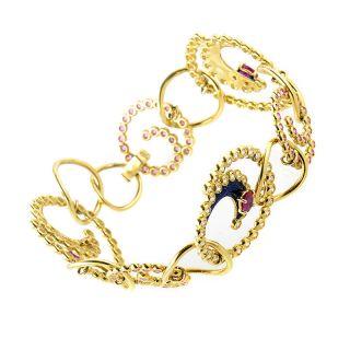 Alessandro Fanfani 18K Yellow Gold Pink Sapphire Diamond Swirl