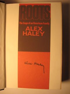 This copy SIGNED BY HALEY ON A ROOTS BOOKMARK WHICH IS PASTED TO