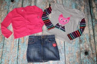 Gap True Colors 5 yr Gray Cat Shirt Denim Skirt Pink Sweater LN