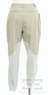 Alexander Wang Khaki Grey Knit Trim Pleated Slouch Trouser Pants Size