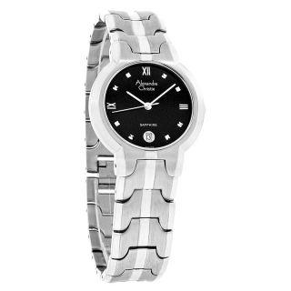 Alexandre Christie Sapphire Mens Black Dial Swiss Quartz Dress Watch