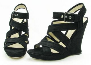 alexandre birman black wedge sandal 5 5 inch heel suede straps made in