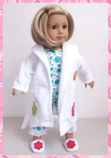 set ** Robe + Pajamas + Slippers ** 4 American Girl Doll Clothes 164