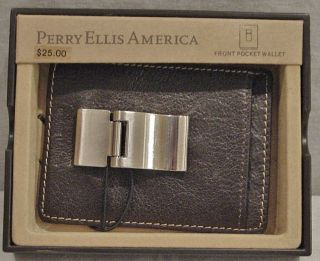 PERRY ELLIS BLACK GRAIN GENUINE LEATHER BROWN POCKET WALLET NIB