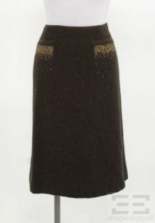 Alberta Ferretti Brown Tweed Wool & Beaded A line Skirt Size 12