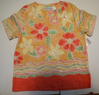 Alfred Dunner shirt size Medium, Orange Peach with Pink+Yellow Flowers