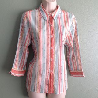 Alfred Dunner Petites Womens Striped Blouse Top Sz 14P