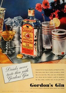 Gordons Distilled Dry Gin Grain Alcohol Drinks   ORIGINAL ADVERTISING