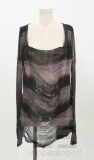 Raquel Allegra Black Tie Dye Long Sleeve Shredded Front Top