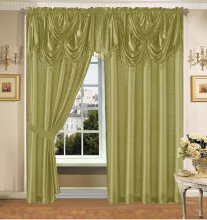 Green Faux Silk Panel Valance Curtain Drapes Window Set New