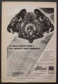 GM Allison Aircraft Engine 1944 vintage AD *Liquid Cooled Giant*