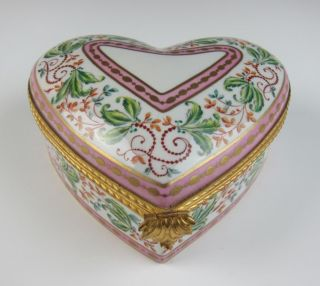 Le Tallec Limoges Large Porcelain Heart Trinket Box French Atelier