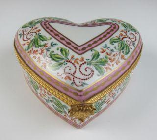 Le Tallec Limoges Large Porcelain Heart Trinket Box French Atelier