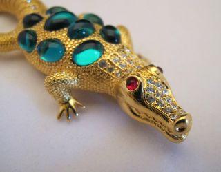 TRIFARI Safari Alligator Brooch Pin Rhinestones LIMITED EDITION