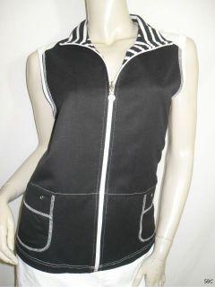 Allison Daley Petite 12 12P Black White Zip Front Sleeveless Layering