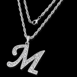 Alphabet Initial Letter M Silver Plated w Crystal Pendant Charm