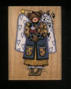 Alma Lynne Garden Angel Wings Hearts Teddy Bear Hearts Rubber Stamp