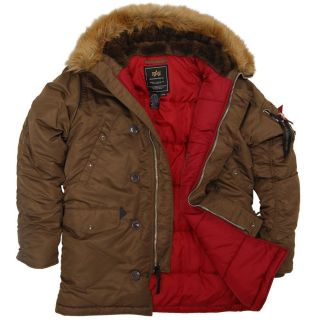 ALPHA INDUSTRIES N3B COLD WEATHER WINTER PARKA SUB FREEZING TEMP BROWN