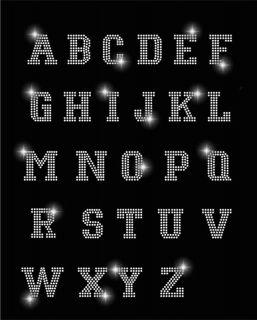 Rhinestone Letters Alphabet A thru Z 2 inch Clear Rhinestone Iron