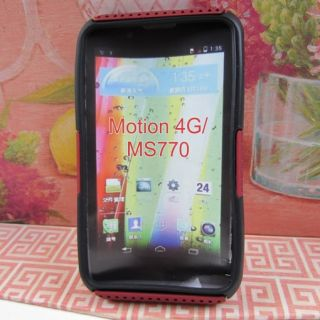 Red Black Rugged Mesh Impact Hard Soft Hybrid Cover Case LG Motion 4G