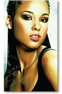mixed media artwork of alicia keys giclee with oil and