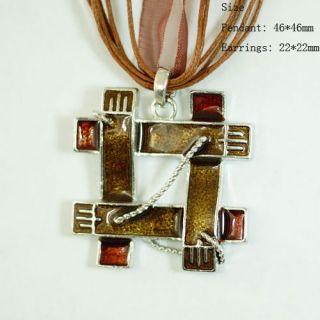 H7772 Ladys Brown Lattice Gemstone CZ Necklace Pendant Earrings Set