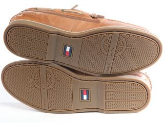 New $90 Tommy Hilfiger Mens Ally Leather Lace Up Boat Loafers Shoes 9