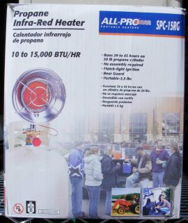 ALL PRO PORTABLE PROPANE OUTDOOR INFRA RED HEATER MDL SPC15RG