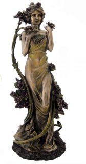 Rose Alphonse Mucha Flowers Series Art Nouveau Lady Statue Figure