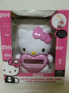 NEW Hello Kitty AM/FM Projection Clock Radio With Battery Back Up