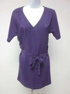 AMANDA UPRICHARD Purple Silk V Neck Short Sleeve Belted Mini Dress Sz
