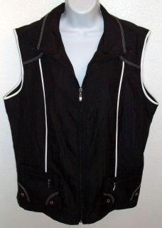 NWT Allison Daley Black White Trim Zip Vest Size 18