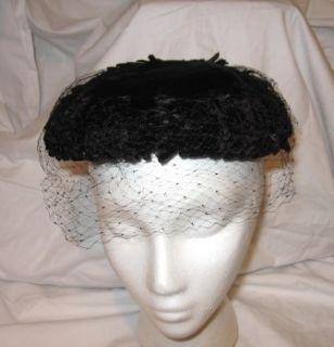 Vintage Kaufmanns Forecast Black Velvet Pillbox Hat with Veil