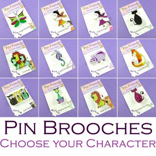 Pin Brooch Choose Your Character Cat Dog Fox Lion Fairy Owl