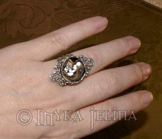 Amber Rose Crystal Ball Angel Ring Myka Jelina Seika