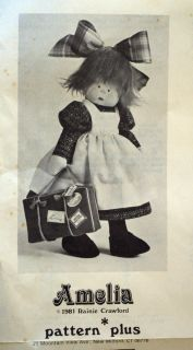 1981 Amelia Doll Pattern Rainie Crawford Pattern Plus Original Mailing