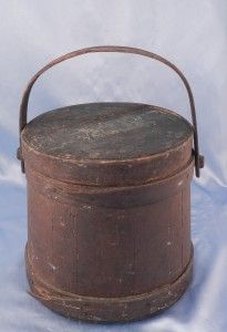 Antique American Folk Art Primitive Firkin Wood Bucket & Lid~Orig Red