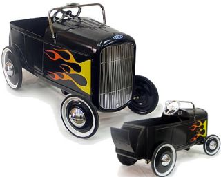 1932 Flamed Ford Roadster Retro Pedal Car Black Hot Rod