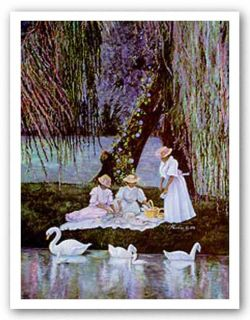 African American Art Swans Picnic by Consuelo Gamboa