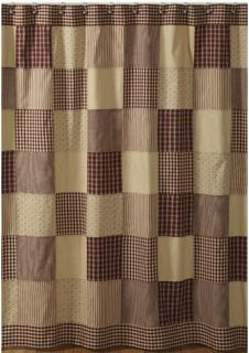Primitive Country Burgundy Tan Patchwork Shower Curtain