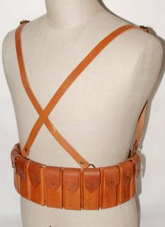 WW2 Chinese Army Mauser C96 Leather Chest Rig Ammo Pouch 31899