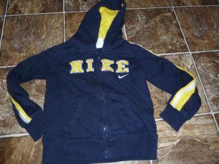 NIKE boys size 5 hoodie sweatshirt zip up jacket navy yellow EUC